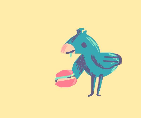 blue bird eats a yummy burger