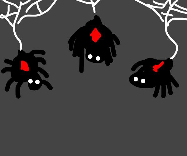 Three o m i n o u s spiders
