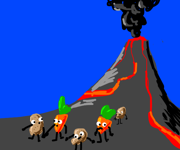 carrots and potatoes going away from volcano