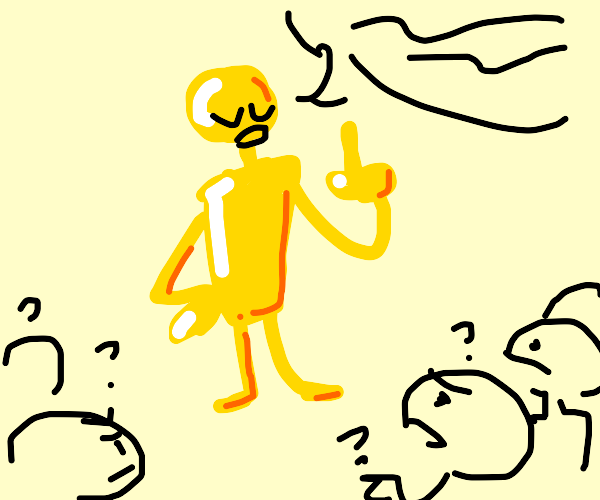 Golden person causes confusion