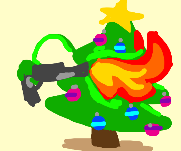 Christmas tree has obtained a flamethrower