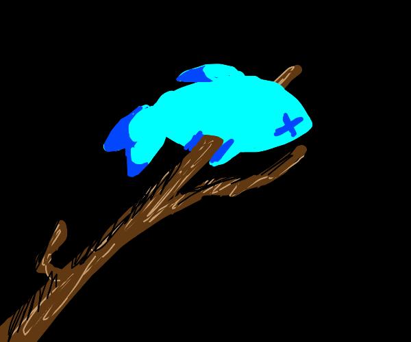 fish on a stick