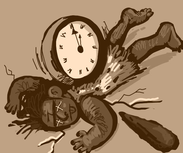 cavemen get killed by clock