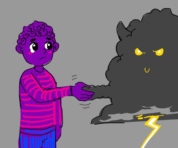 purple man shakes evil cloud's hand