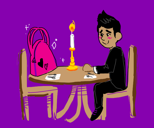 A date between a guy and a purse