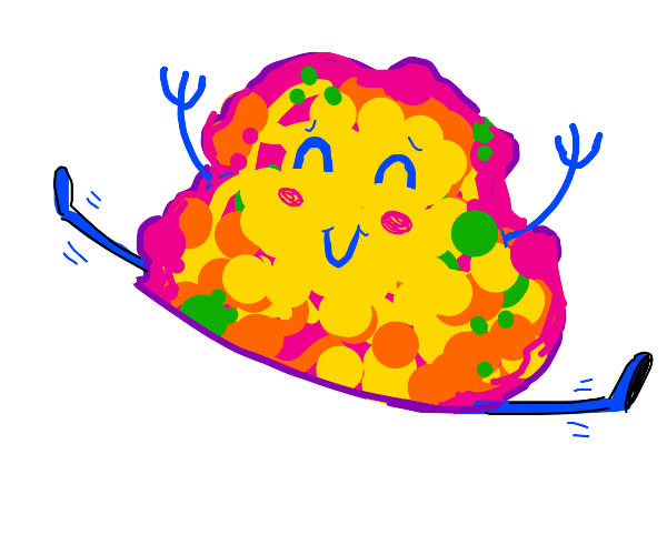 Happy lil colorful blob does a split