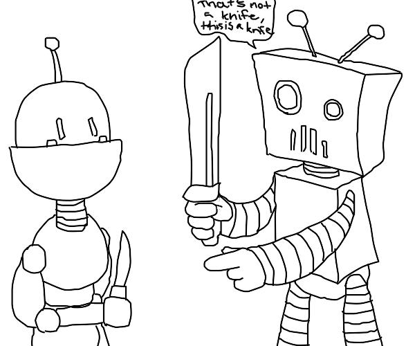 Robot shows another robot a knife