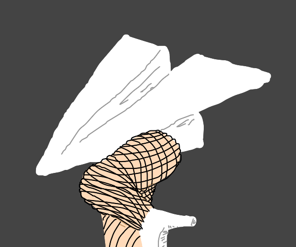 Paper airplane with fishnet legs (and heels)