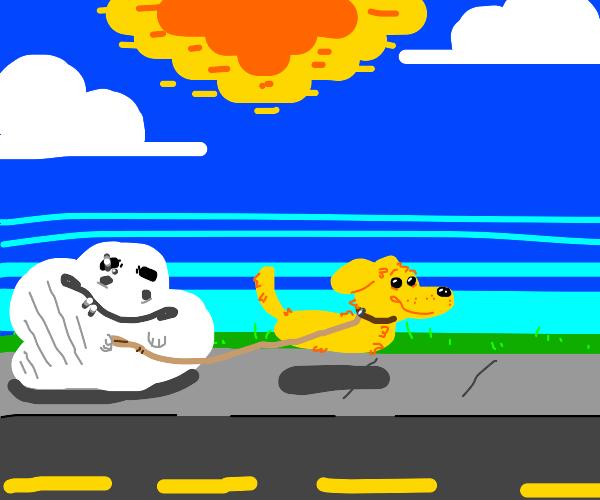 white blob guy walking a yellow dog w no legs