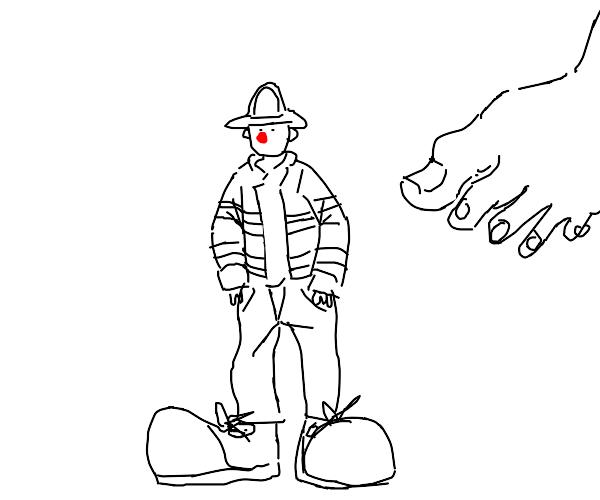 Fireman with clown feet