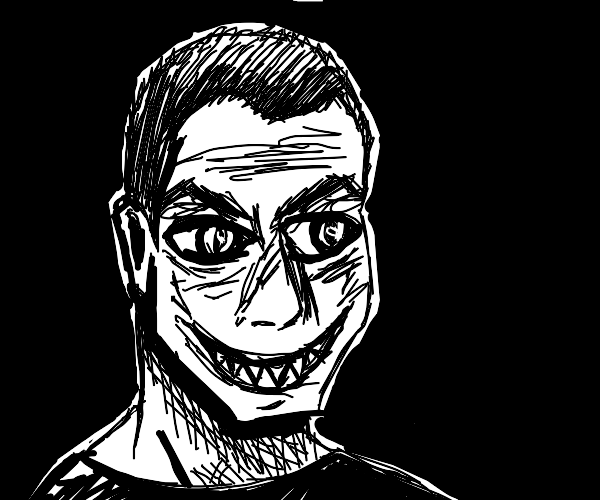 a person with a creepy smile