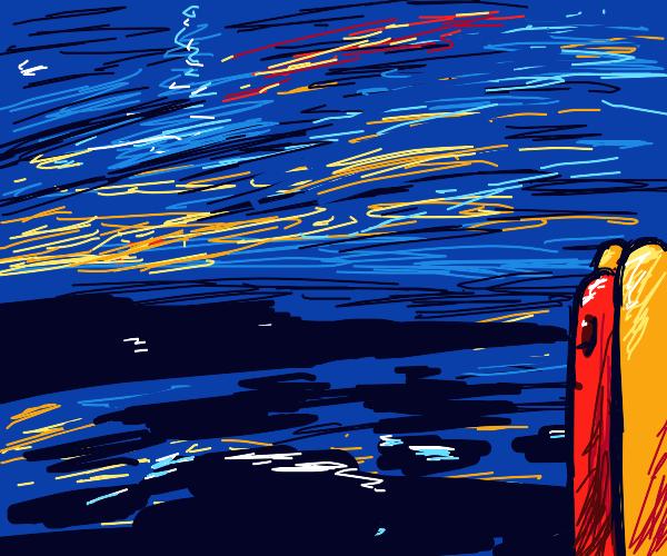 Sad hotdog looking at the ocean