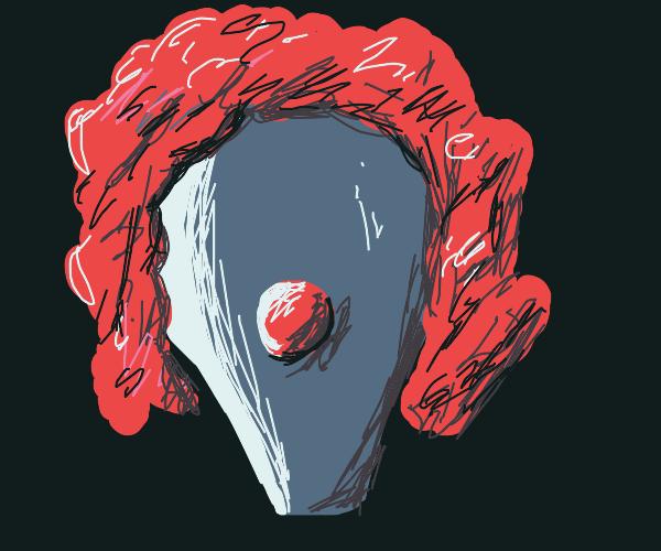 Clown balloon with real hair