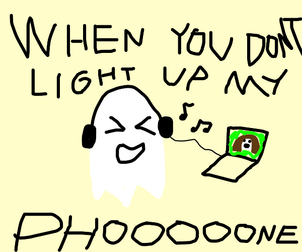 Ghost listens to music.
