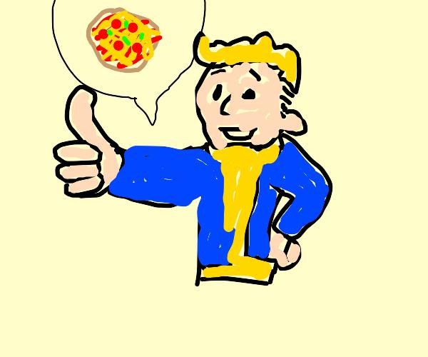 Pip Boy LOVES pizza