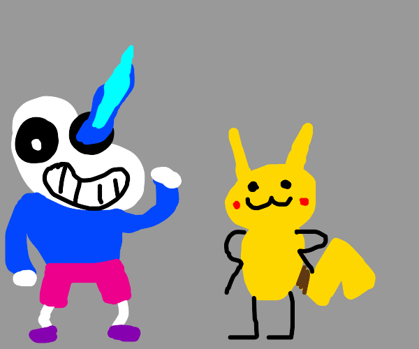 Sans plays with pikatchu