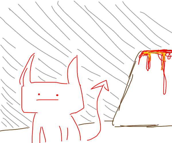 :I devil stands in front of volcano