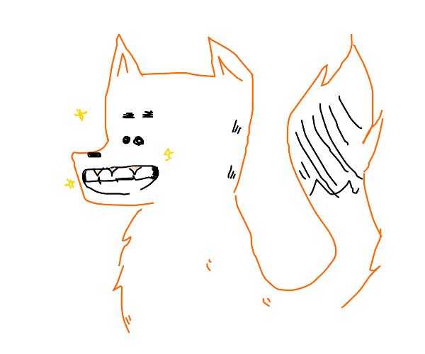 fox lady with shiny teeth and eyes