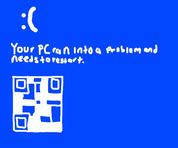 An error screen