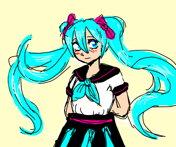 hatsune miku in a schoolgirl outfit
