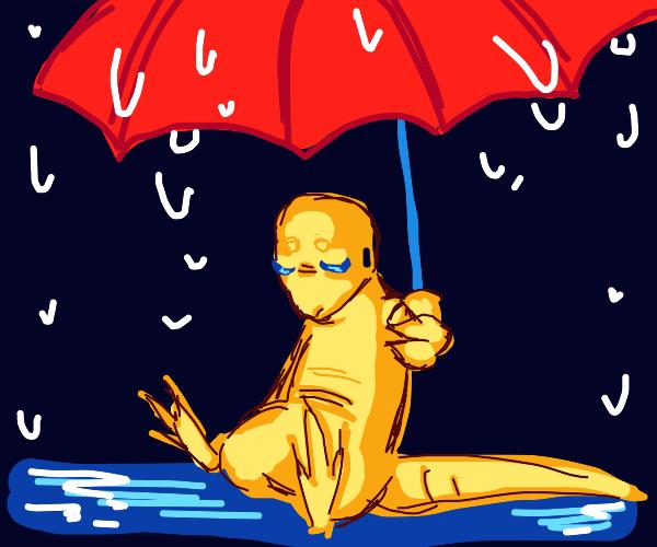 Lizard stuck in the rain with umbrella