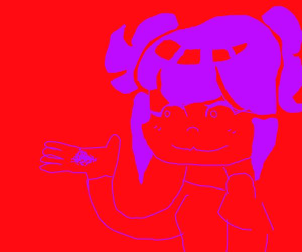 Someone holding purple powder
