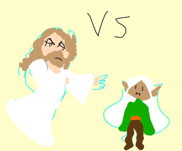 Jesus vs elf dude