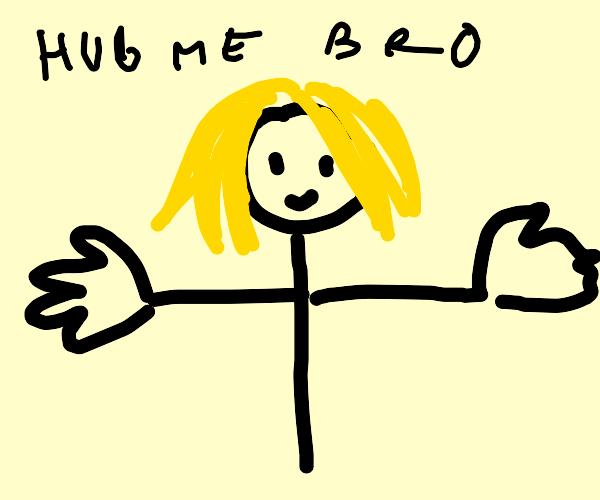 Blonde stickman with big hands wants to hug u