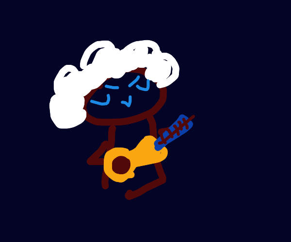 cloud haired woman plays guitar