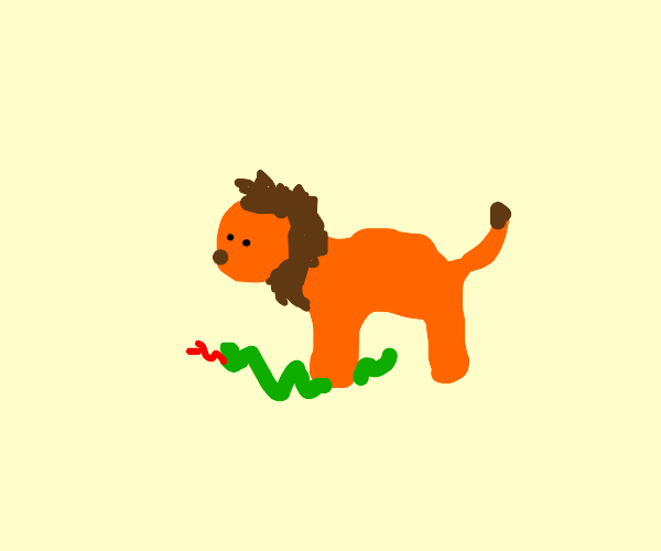 Lion stepping on snake