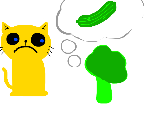 Cat is sad because broccoli wishes 2 b pickle