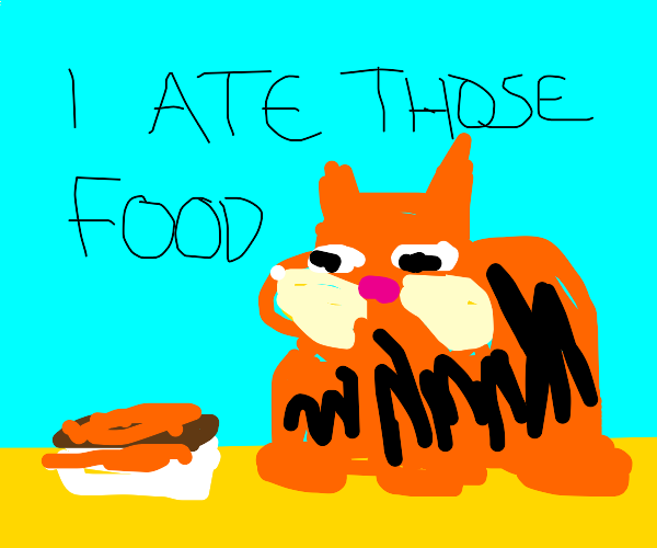 Garfield sneaks a meal