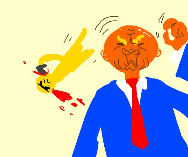 a yellow animal falls off of trumps bald head