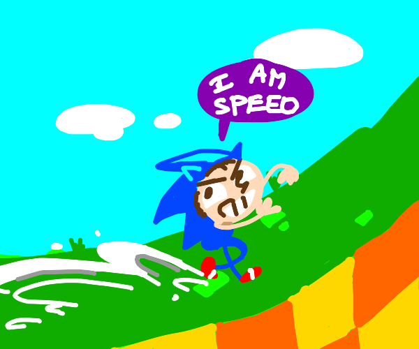 boy imitates sonic and goes fast
