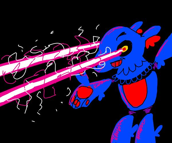 Blue furry with lazer eyes