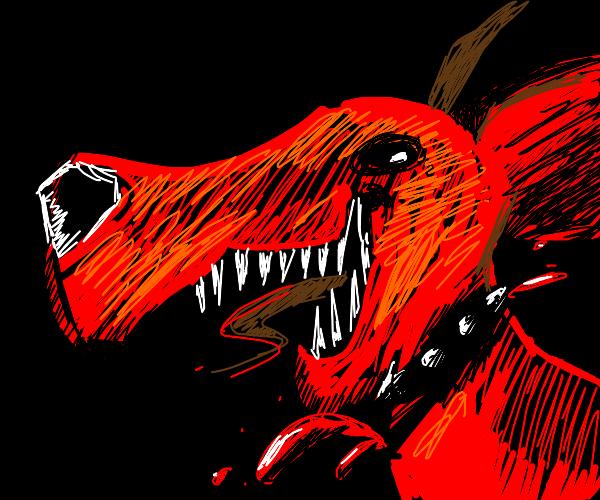 murderous dog with slit neck