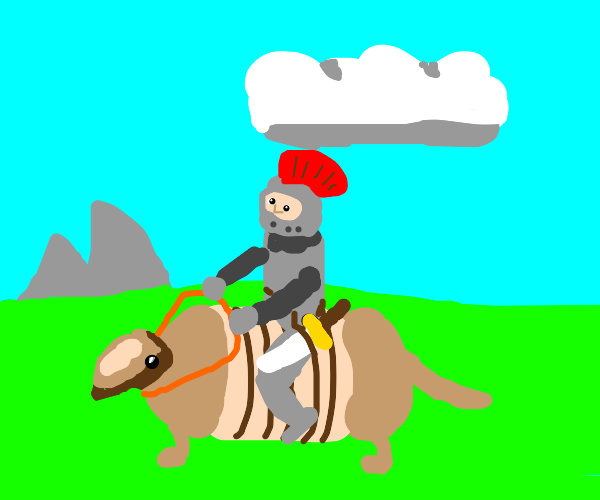 knight n shining armor rides armadillo to war