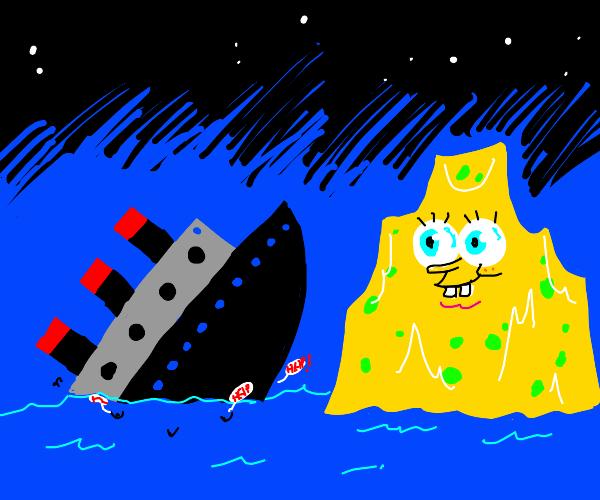 Spongebob sinks a Navy boat