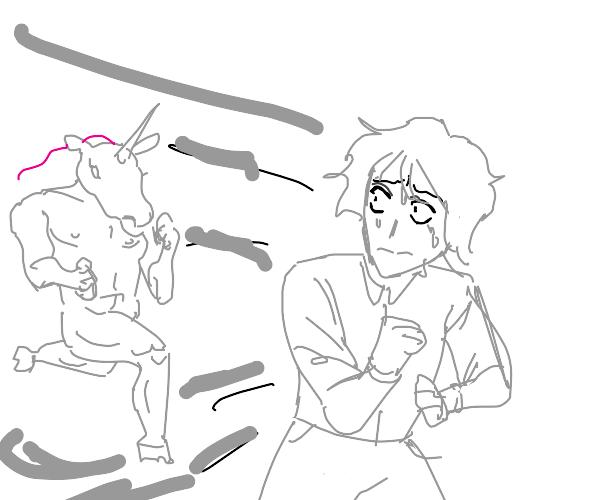 Anime boy running from buff unicorn guy