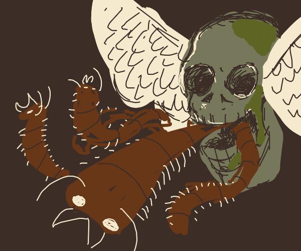 Winged skull releasing centipedes