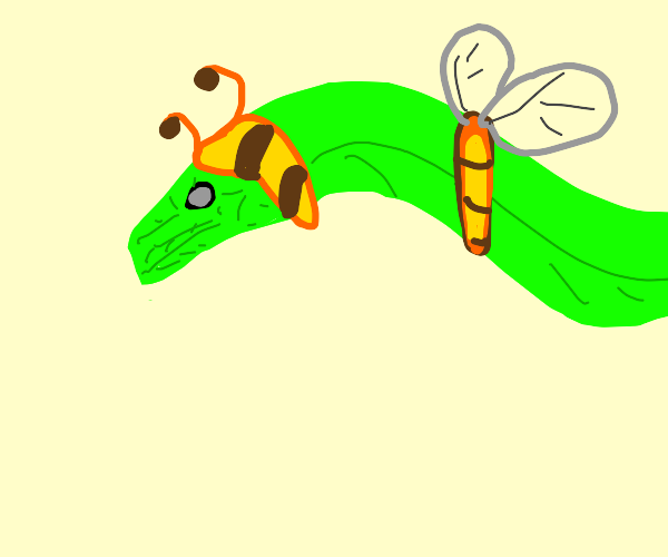 Snake wearing a bee costume for Halloween