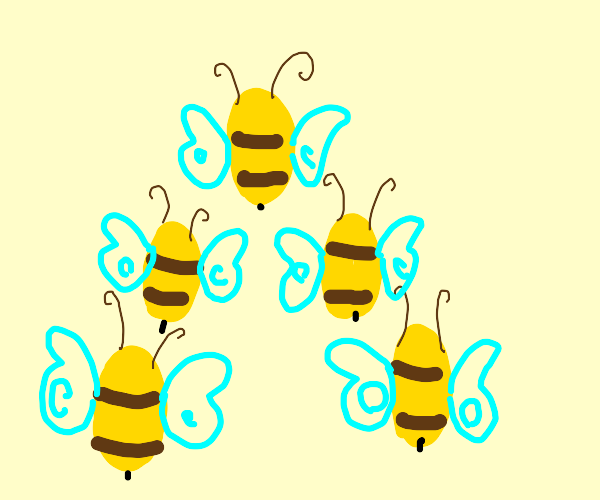 bees flying in formation