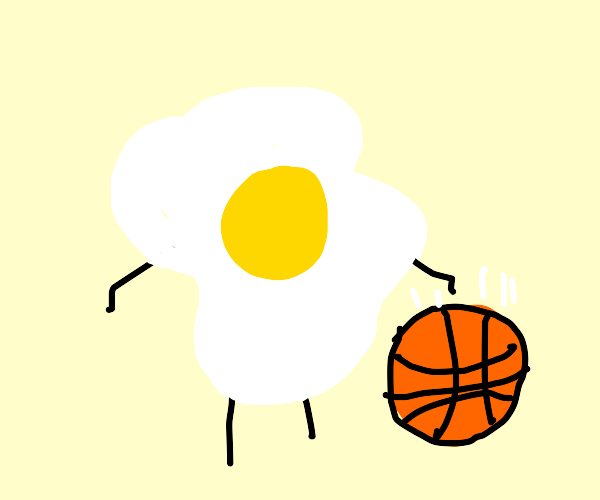 Fried Egg playing Basketball