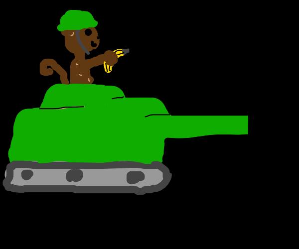 chimp on a tank