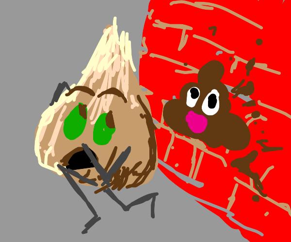 Green eyed onion flees from poop graffiti