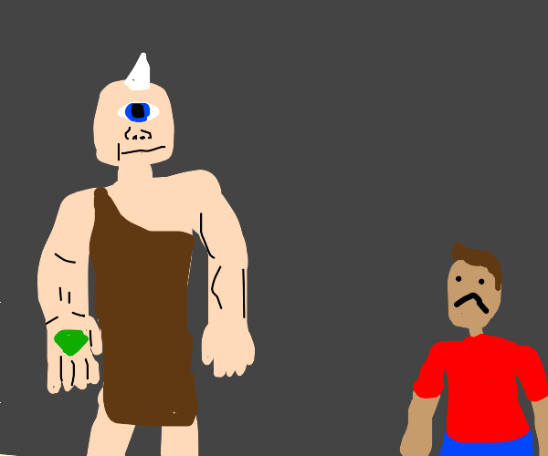 Cryclops holds green stone man is sad