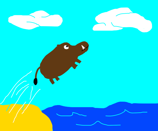 Boar jumping over the Ocean