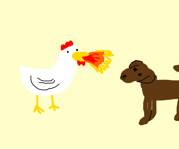 chicken breathing fire at dog