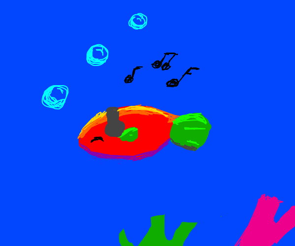 colorful fish listens to music
