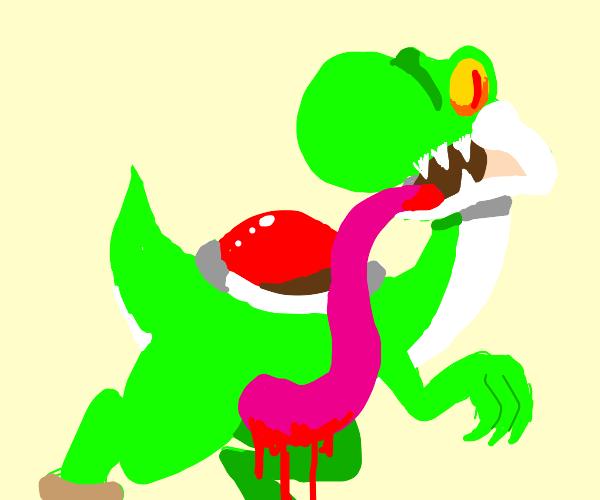 evil yoshi escapes the zoo (jurassic park?)